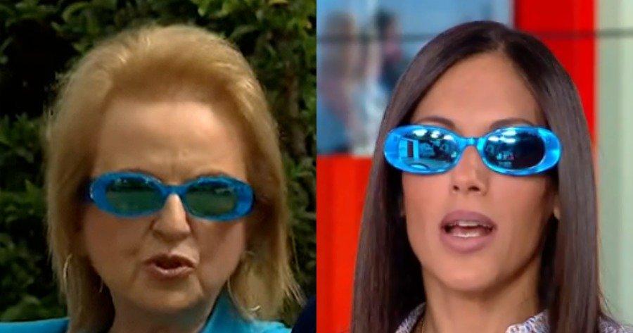 Ιορδάνης Χασαπόπουλος και Ανθή Βούλγαρη φορούν τα viral γυαλιά της Ματίνας Παγώνη στον αέρα της εκπομπής