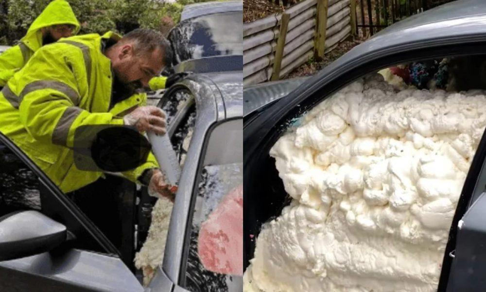 Εργοδότης άφησε τους υπαλλήλους του απλήρωτους και του γέμισαν το αμάξι με αφρό πολυουρεθάνης